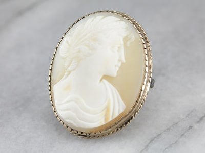Rose Gold Victorian Cameo with Roman Woman in Profile