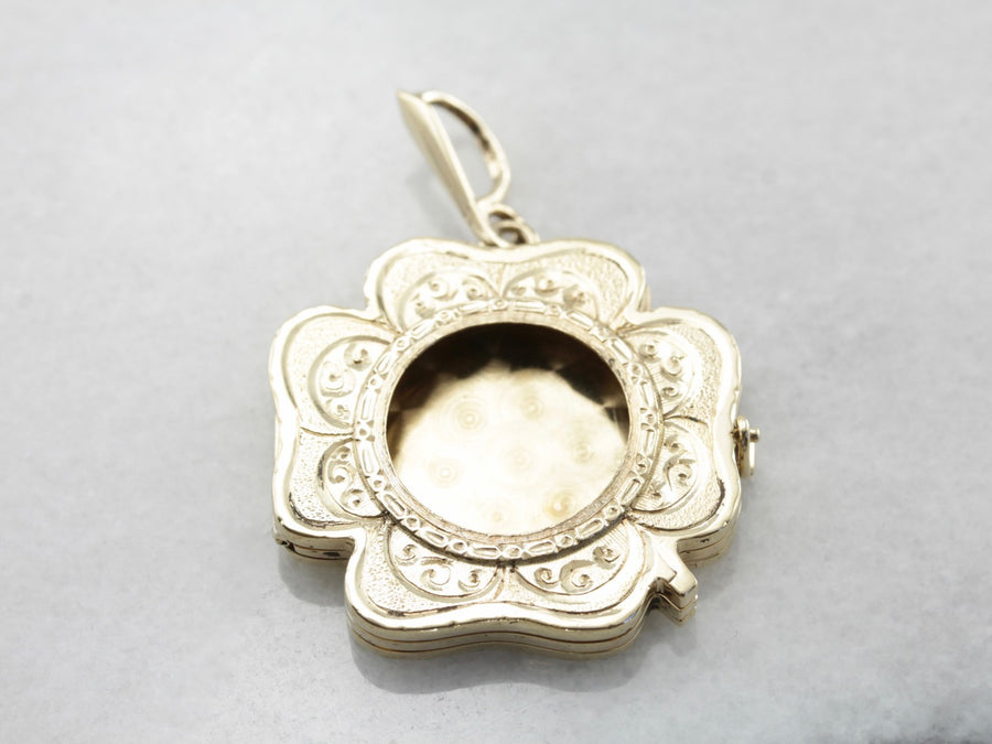 Vintage Shamrock Locket with Room for Multiple Images, Vintage Yellow Gold