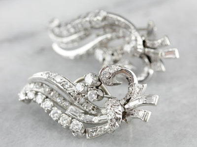 Sweeping Retro Era Diamond Earrings