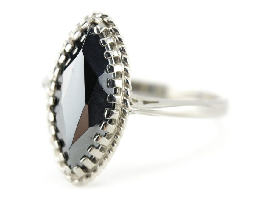 Phoebe Hematite Marquise Cocktail Ring by Elizabeth Henry