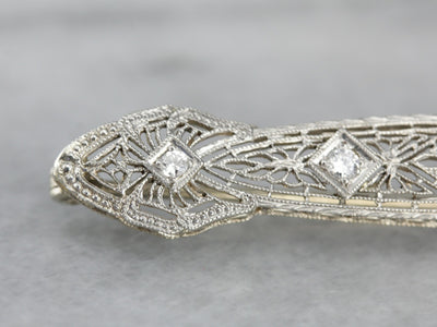 Filigree Art Deco Diamond White Gold Bar Pin