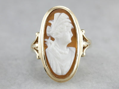 Vintage Cameo Gold Statement Ring