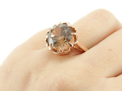 Peach Zircon Grace Cocktail Ring by Elizabeth Henry in Rose Gold