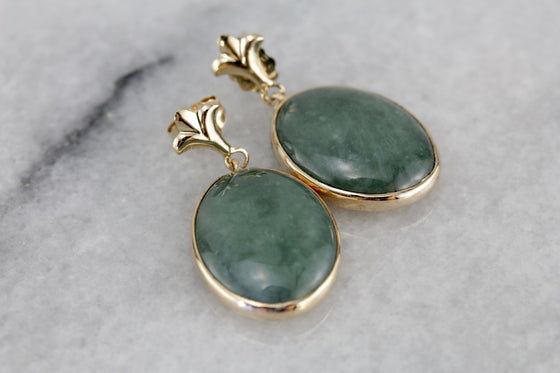 1930s Jade Drops, Converted to Beautiful Modern Earrings with a Fleur de Lis Flair