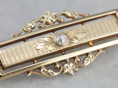 Victorian Old Mine Cut Diamond Gold Bar Pin