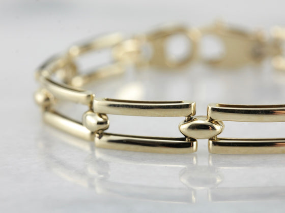 Polished Yellow Gold Rectangle Link Bracelet
