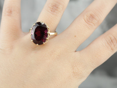Rare Rubellite Tourmaline and Vintage Gold Cocktail Ring