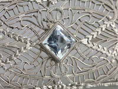 Art Deco Aquamarine White Gold Lace Filigree Brooch