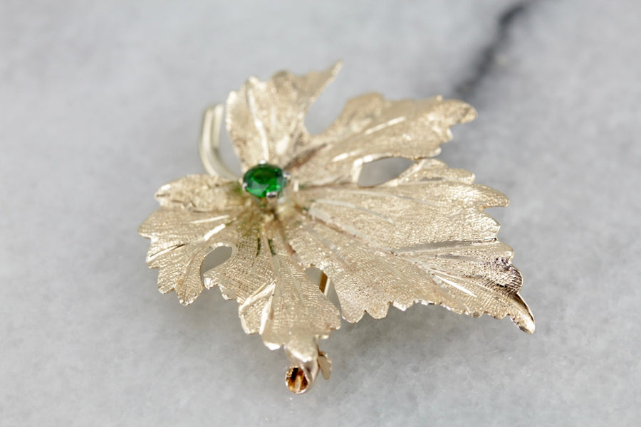 Golden Leaf Brooch with Demantoid Garnet Center