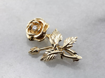 Vintage Diamond Rose Bud Pin in Yellow Gold