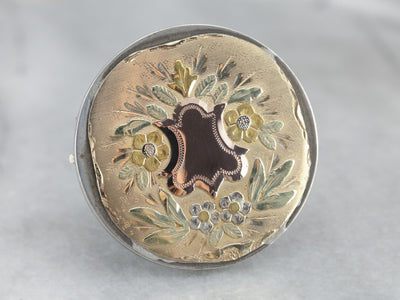 Stunning Tri Color Antique Gold Brooch