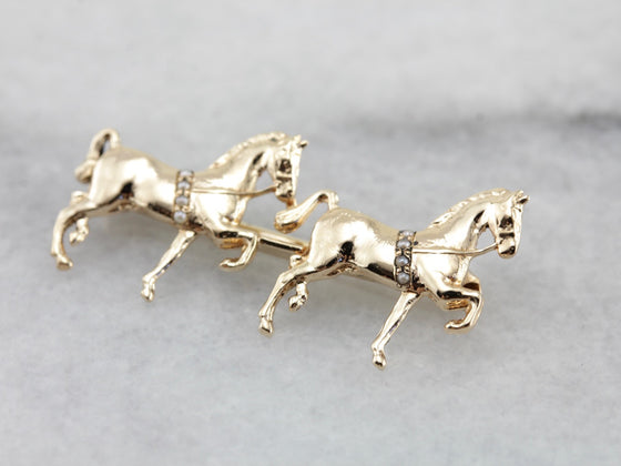 Antique Dressage Equestrian Horse Pin with Seed Pearl Details, Victorian Era Gold Walking Horse Brooch