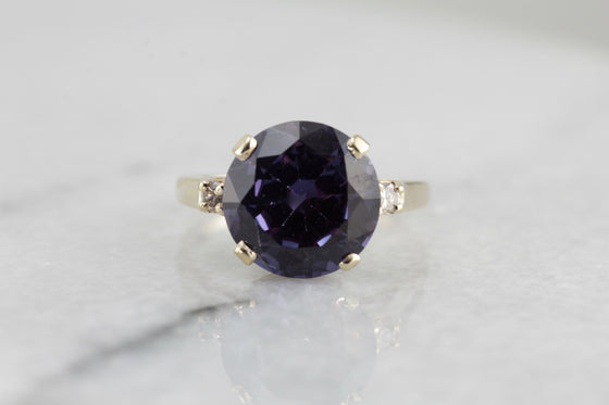 Color Change Synthetic Alexandrite Cocktail Ring