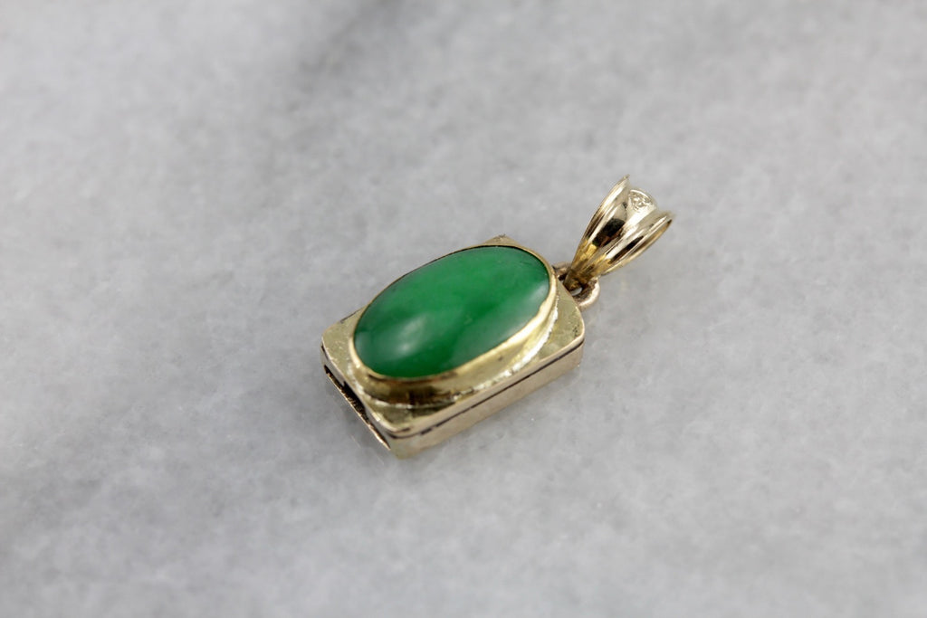 Fine Antique Jadeite Layering Pendant in Yellow Gold, Early Art Nouveau Era Asian Jade