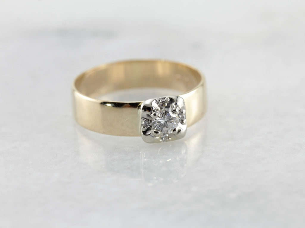 Two Tone Gold Diamond Engagement and/or Wedding Band
