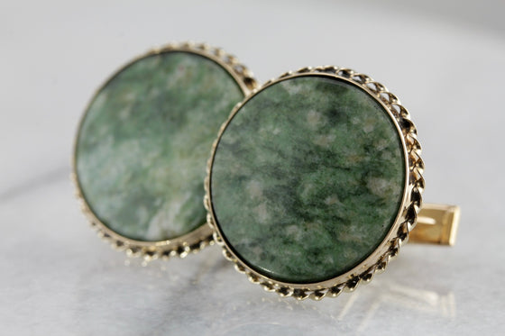Earthy Nephrite Jade Cufflinks in Yellow Gold
