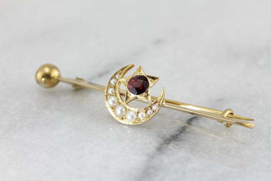 Art Nouveau Star and Moon, Antique Natural Pearl and Garnet Bar Pin