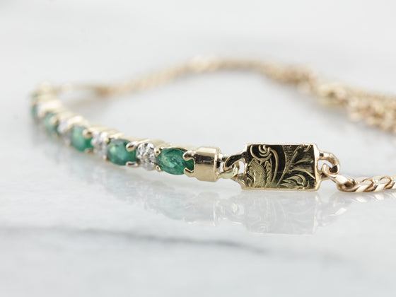 Emerald and Diamond Bar Bracelet in Yellow Gold