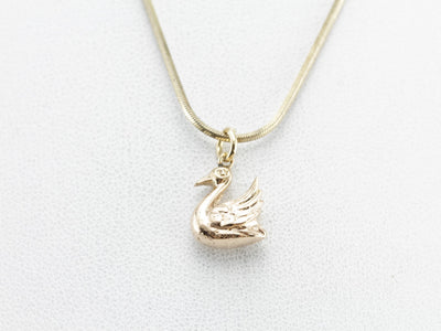 Golden Swan Pendant or Layering Charm