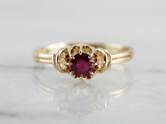 Ruby Solitaire Anniversary or Engagement Ring in Early 1900's Yellow Gold Setting