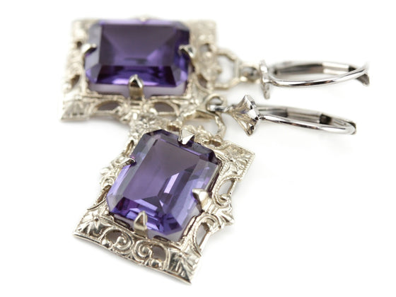 The Isabel Synthetic Alexandrite Drop Earrings from The Elizabeth Henry Collection