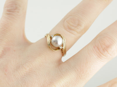 Dove Grey Pearl Bypass Ring with Small Diamond Accents