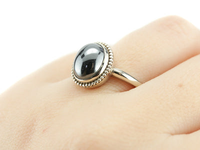 Hematite Cocktail Ring, The Emma Ring, Elizabeth Henry Collection