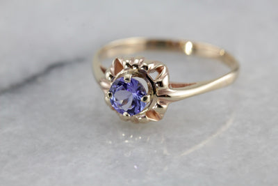 Retro Era Tanzanite Solitaire Ring, Victorian Revival Ladies Ring Mounting with New Stone