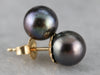 Black Pearl Stud Earrings in Yellow Gold