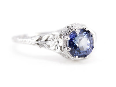 Greenleaf Sapphire Floral Platinum Engagement Ring by Elizabeth Henry