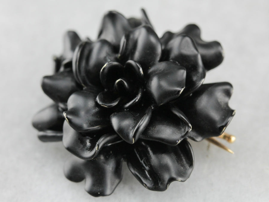 Notable Black Enamel Rose Piece, Victorian Gothic Mourning