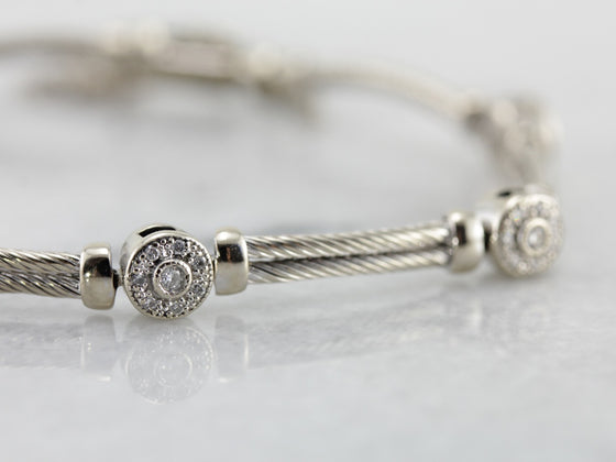 High Quality White Gold Rope and Diamond Cluster Link Bracelet