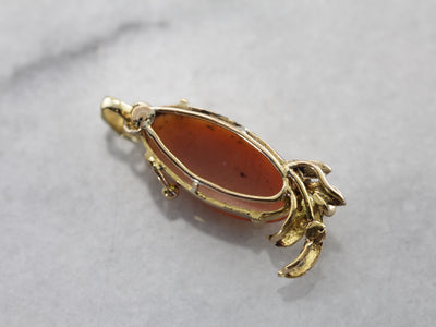Vintage Shell Cameo Set in Handmade Yellow Gold Pendant