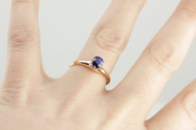 Deep Blue Classic Sapphire Solitaire Engagement Ring