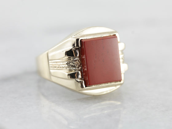 Vintage Red Jasper Men's Statement Ring in Yellow Gold