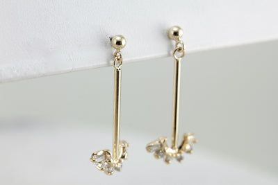 Long Diamond Drop Earrings, Minimalist and Sleek