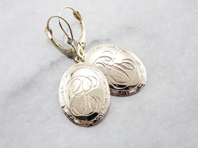 Monogrammed Cufflink Conversion Earrings with Leverback Findings