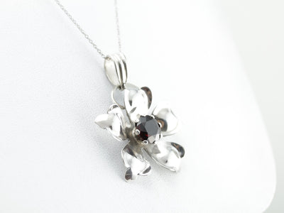 Large Sterling Silver Flower Pendant with Red Garnet Center