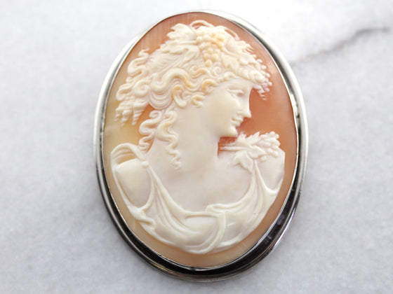 Large Shell Cameo Pin or Pendant in Sterling Silver