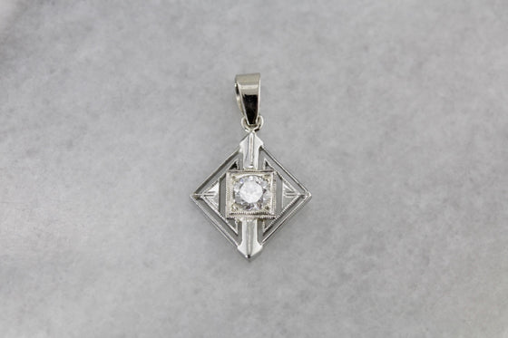 Art Deco Diamond Layering Pendant, White Gold Bridal Pendant from the 1920's