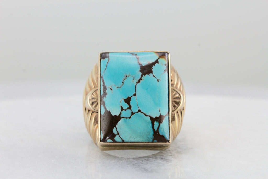 Victorian to Art Deco Large American Turquoise Ring