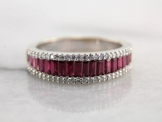 The Finest Quality Ruby and Diamond Band in High Karat White Gold