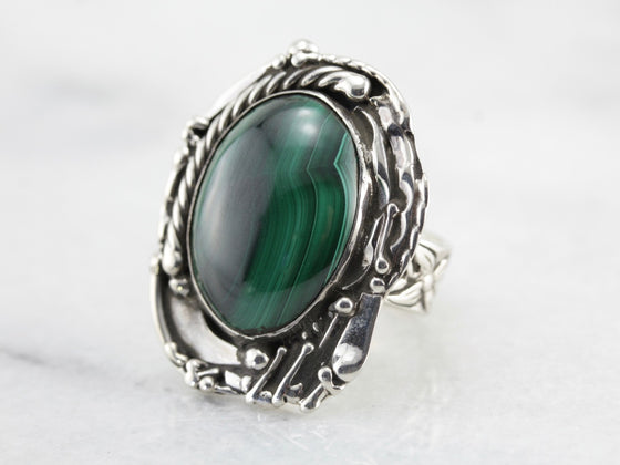 Handmade Malachite Ring, Abstract Frame and Floral Band