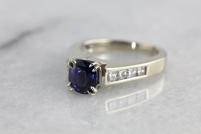 Contemporary Fine Midnight Blue Ceylon Sapphire of Excellent Quality,  Engagement Ring in Diamonds and White Gold