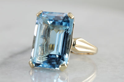 Bold Blue Beauty: Blue Topaz Statement Ring with Vintage Gold Mounting