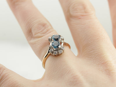 Blue Topaz and Diamond Bypass Style Anniversary Ring