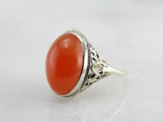 Art Deco Era Carnelian Cabochon Cocktail Ring, Filigree Mounting