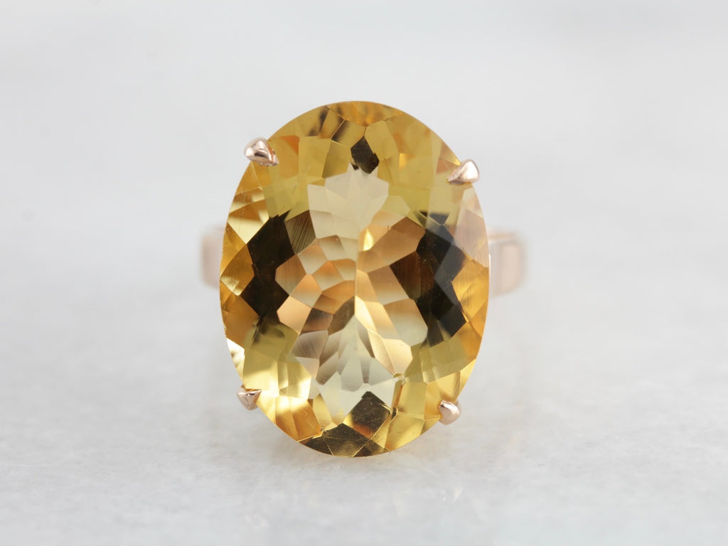Citrine and Rose Gold Cocktail Ring