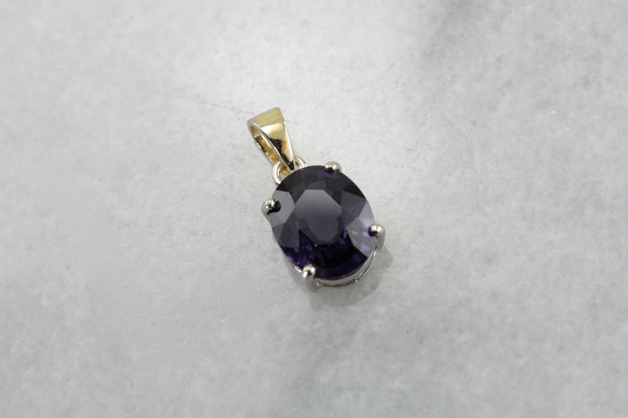 Simple Spinel Gemstone Pendant, A Luxurious Royal Purple Statement Piece for Day or Evening