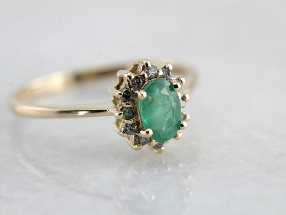 Timeless Emerald and Diamond Halo Ring